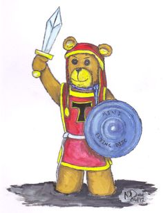 Tristan the Defender - pencils & gouche watercolor by A Teddy Bear Tale Author Nick Davis - http://theteddybeartales.com