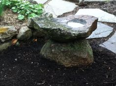 "Native NH stone birdbath.  It is larger than it looks.  The top stone is 30"" long and probably weighs 150 pounds.  It makes a statement and meshes with its' environment. #birdbath www.rusticstoneandgarden.com"