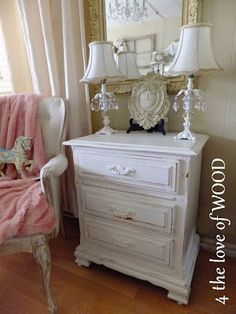 4 the love of wood: Shabby Chic Night Stand Painted White