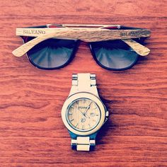 Silvano Apparel wood sunglasses and watch