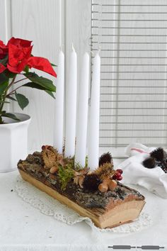 Advent Wreath : lern how to paint Rustikaler Adventskranz / rustic Advent Wreath Cabin Christmas, Christmas Love, Rustic Christmas, Advent Wreath Candles, Christmas Candle Decorations, Easter Wreaths, Holiday Wreaths, Early Spring Wedding, Theme Nature