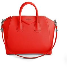 Givenchy Antigona Small Leather Satchel ($2,280) ❤ liked on Polyvore featuring bags, handbags, apparel & accessories, genuine leather purse, red leather purse, red purse, genuine leather handbags and leather satchel