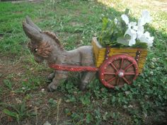 Donkey cart planter donkey planter donkey pulling cart MADE TO ORDER  gifts for her mothers gift idea whimsical donkey Mule and cart planter by MapleHillCeramics on Etsy