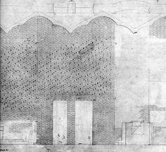 Elevation drawing. Sigurd Lewerentz. St Mark's Church, Bjorkhagen. 1960