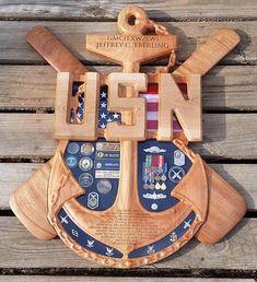 Chief Senior or Master Chief Anchor Shadow Box Shadowbox Ideas, Military Shadow Box, Navy Chief, Us Coast Guard, Scroll Saw Patterns, Retirement Gifts, Master Chief, Anchor, Crafty