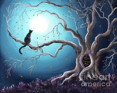 Black Cat in a Haunted Tree Painting  by Laura Iverson