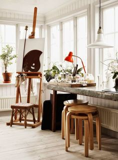 A beautiful Swedish home and creative studio.   Windows!!