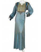 "aljalabiya.com: ""The Ebullience Kaftan"" Jacquard cotton jalabiya with hand and machine embroidery on chest and cuffs with velvet (N-10352)    $129.00"