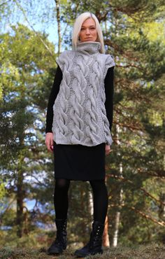 Instant Download PDF pattern. Cable knit sleeveless vest. Digital pattern from Ilze Of Norway. (0102)