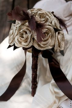 Book Page Steampunk Bridal Bouquet by DiddleBug on Etsy, $108.00