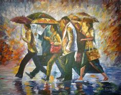 """Paseo bajo la lluvia, cuadro de Jesús Sanz, pintor del estudio de pintura """"La magia de Rudi""""."""