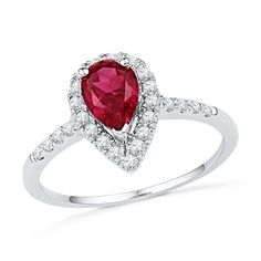 Now available on our store: 10kt White Gold W... Check it out here! http://shirindiamond.net/products/10kt-white-gold-womens-pear-lab-created-ruby-solitaire-diamond-frame-ring-1-1-5-cttw?utm_campaign=social_autopilot&utm_source=pin&utm_medium=pin