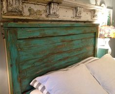 King Size Headboard Distressed - Turquoise - Handmade King Size Headboard…