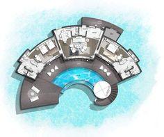 InterContinental Maldives Maamunagau Resort Two Bedroom Overwater Villa House Arch Design, Hotel Room Design, Facade Design, Architecture Concept Diagram, Architecture Plan, Resort Plan, Hotel Floor Plan, Architectural Floor Plans, Interior Design Presentation