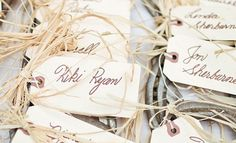 """Guests found their seats with calligraphed escort cards tied to horseshoes with raffia. """"everyone took their horseshoes home as gifts,"""" says jessica. Rustic Wedding Favors, Unique Wedding Favors, Wedding Ideas, Wedding Vows, Wedding Inspiration, Inexpensive Wedding Venues, Outdoor Wedding Venues, Wedding Stationary, Wedding Invitations"""