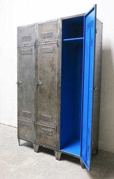 French Industrial Vintage 3 Door Locker Door Locker French Industrial Vintage Industrial