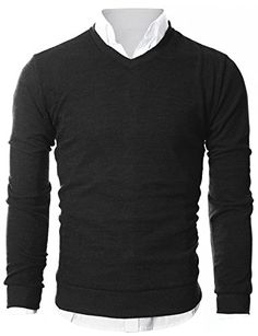 Men's Clothing - Ohoo Mens Slim Fit Light Weight VNeck Pullover Sweater *** To view further for this item, visit the image link. (This is an Amazon affiliate link)