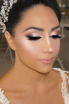 Bright Wedding Makeup Ideas For Brunettes ❤ See more: http://www.weddingforward.com/wedding-makeup-for-brunettes/ #weddings