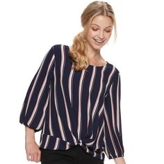 Look classy or casual with this juniors' Pink Republic top. Top Knot, Scoop Neck, Classy, Casual, Pink, Hand Care, Tops, Women, Fashion