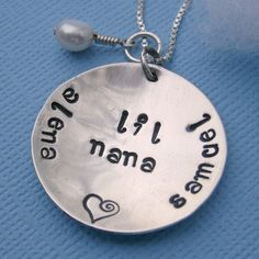 Hand stamped Mommy Necklace  Celebrating by Whimsicalheartstring