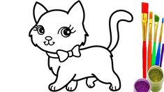 How to Draw Cat Coloring Pages Youtube Videos for Kids - YouTube