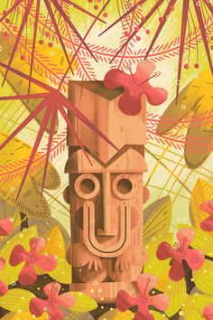 Tiki-themed iPhone & iPad wallpaper from Andrew Kolb Tiki Art, Tiki Tiki, Illustrations, Illustration Art, Tiki Lounge, Photo Awards, Tiki Room, Affinity Designer, Surf