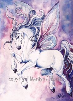 GICLEE PRINT FANTASY; Fairy horse, dancing, pink, blue and mauve color, wall art, fairy wings, 11 x 15 inches by OriginalSandMore on Etsy