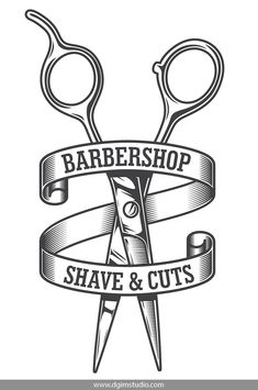 Buy Vintage Monochrome Hairdresser Salon Logotype by imogi on GraphicRiver. Vintage monochrome hairdresser salon logotype with sharp scissors and inscriptions on rounded ribbon isolated vector . Vintage Hairdresser, Hairdresser Logo, Barber Tattoo, Barber Logo, Barber Shop Interior, Barber Shop Decor, Monochrome, Shaving Cut, Hair Salon Logos