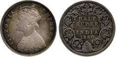 Extremely fine and toned silver half rupee, circa 1880, depicting  'Victoria Empress' on the obverse. Price realized: £10,800. Baldwin's image.