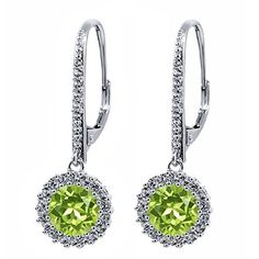 Beautiful! - Round Big 7mm Natural Green Peridot 925 Sterling Silver Earrings available at joyfulcrown.com