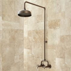 Bronze finished - exposed pipe shower for first floor bath