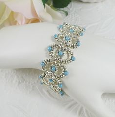 Woven Bracelet Silver Blue Lace by IndulgedGirl on Etsy