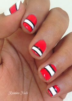wedding day nails sorta like this but to look like jons buoy and the red not so orangy