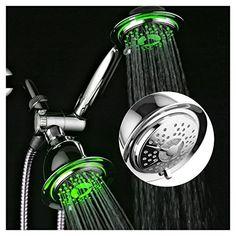 "ELENKER 7 colors 8"" Rainfall Round Bathroom Shower Head RGB LED Flash Light"