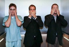 hear no evil, speak no evil, see no evil.. its funny because each of these fit their personalities