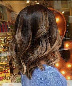 Bayalage ombré dark brunette base mid length hair