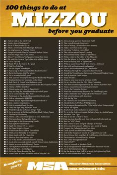 Some I have done, but a lot I have not! Maybe it is a good thing I have two extra more years after this year....I love Mizzou.