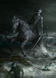 """In Celtic Folklore, The Nucklavee is a skinless man and horse joined together. This monster has a poisonous breath that destroys entire crops and causes people to starve (Illustrations: Artem Demura)"" Dark Fantasy Art, Fantasy Kunst, Fantasy Artwork, Dark Art, Dark Creatures, Humanoid Creatures, Fantasy Creatures, Mythical Creatures, Arte Horror"