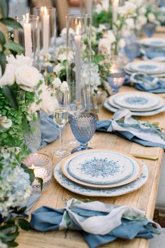 A Dreamy Wedding at Rancho Las Lomas Straight out of a Fairytale Passionate about colors? me for Unique Blue Fashion!A Dreamy Wedding at Rancho Las Lomas Straight out of a Fairytale Wedding Themes, Wedding Designs, Wedding Colors, Wedding Ideas, Blue Wedding Decorations, Wedding Planning, Greek Wedding Theme, French Blue Wedding, Blue Wedding Centerpieces