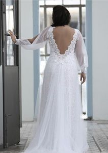 Style #PS1431 - 1950 - back of Loose Long Bishop Sleeve Plus Size Wedding Dress