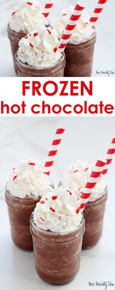 Quick and easy frozen hot chocolate recipe! Ready in minutes!