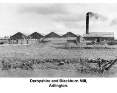 Bata Derbyshire & Blackburn Adlington Textile Mill Chorley Lancashire, view of Mill Factory, Chimney and Boiler House c1960, photo courtesy Charles Novotny Family Archive, we have more photos of the looms and employees of this mill, contact BRRC or see website