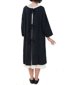 joker dress-coat - black linen cotton