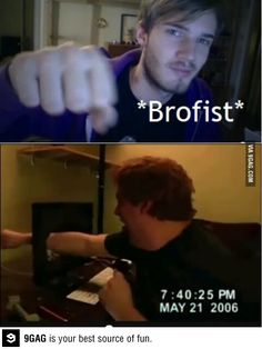 My parents think I'm so weird cause I watch PewDiePie and when he does a brofist I put my fist on the screen. At least I don't break the screen XD Funny Quotes, Funny Memes, Hilarious, Jokes, Funny Videos, Markiplier, Pewdiepie Meme, Youtube Gamer, Smosh