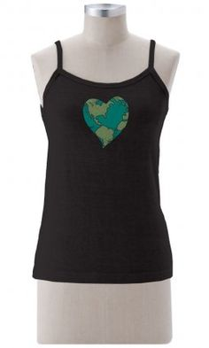 Earth Creations - Earth Heart on Better than Before Tank Top.  Love the Earth. Our tank shows the Earth as a heart that reminds us to respect the world around us.  55% hemp / 45% organic cotton jersey. $36.00 #earthcreations #madeinusa #printedtank #longertank