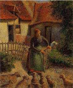 The Camille Pissarro painting, Shepherdess Bringing in Sheep (1886) is currently on display at the University of Oklahoma campus.  This piece was stolen by Nazi troops during the invasion of France in 1941.