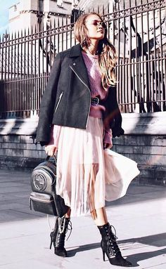 bede6531cc1 amazing fall outfit   sweater pink skirt boots backpack jacket Skirts With  Boots