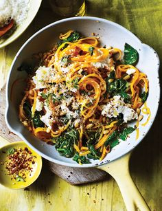 Perfect for Meat Free Monday, these butternut noodles with spinach and ricotta make an ideal gluten-free weeknight dinner as they're ready in just 20 minutes.