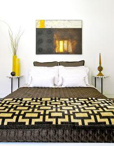 Unique bedroom design with metallic tones. #bedroom #design #metallic #art