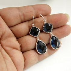 Sapphire Blue Earrings Silver Rosecut Glass by poetryjewelry, $33.00